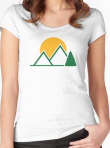 Mountains tree sun Women's Fitted Scoop T-Shirt