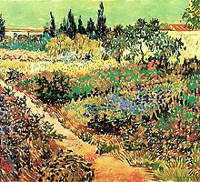 'Flowering Garden With Path' by Vincent Van Gogh (Reproduction) by Roz Abellera Art Gallery