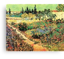 'Flowering Garden With Path' by Vincent Van Gogh (Reproduction) Canvas Print