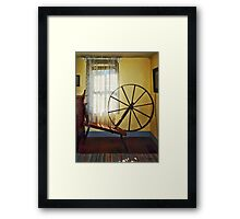 Large Spinning Wheel Near Lace Curtain Framed Print