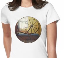 Large Spinning Wheel Near Lace Curtain Womens Fitted T-Shirt