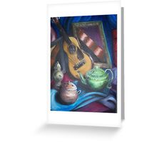 guitar and mirrors Greeting Card