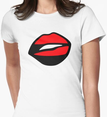 Kiss lips Womens Fitted T-Shirt
