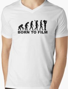 Evolution Born to film Mens V-Neck T-Shirt