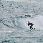 Surfing Newcastle Beach by Bev Woodman