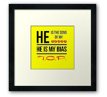 HE IS MY BIAS T.O.P. - Yellow Framed Print