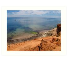 Port Noarlunga Cliffs, reef and boat Art Print