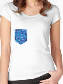 Floral Pattern Pocket 2 Women's Fitted Scoop T-Shirt