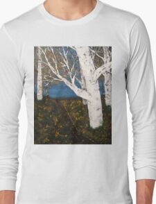 Silver Birch Trees Autumn Nature Painting Long Sleeve T-Shirt