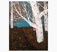 Silver Birch Trees Autumn Nature Painting Enhanced Unisex T-Shirt