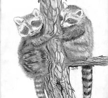 young racoons   in tree-charcoal by Gordon Pegler