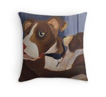 Caleb A Pit Bull and a Stuffed Friend Throw Pillow
