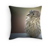 Roly Poly Finch Throw Pillow