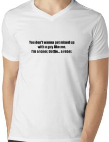 Pee-Wee Herman - Don't Wanna Get Mixed Up - Black Font Mens V-Neck T-Shirt