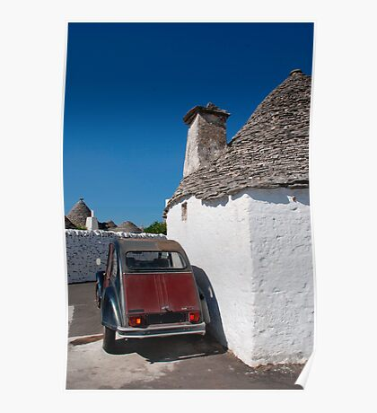 Maroon Car Outside Trullo  Poster