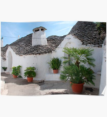 Trulli Houses with Plants  Poster