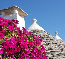 Trullo Roof with Pink Flowers by jojobob