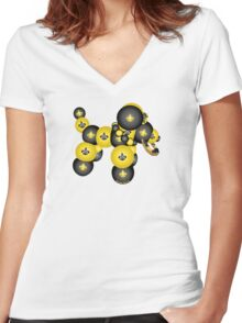 Black and Gold Dog Women's Fitted V-Neck T-Shirt