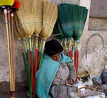 BROOM SELLERS - BOLIVIA by Michael Sheridan