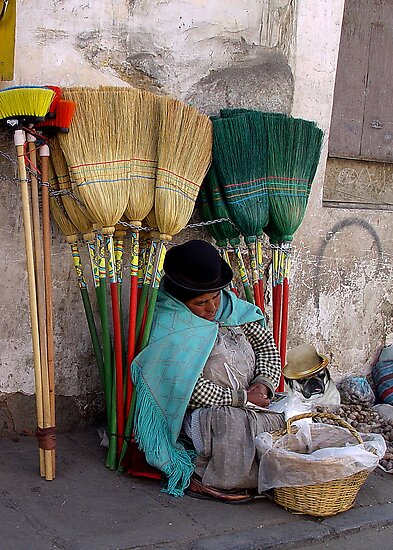 BROOM SELLERS - BOLIVIA by Michael Sheridan