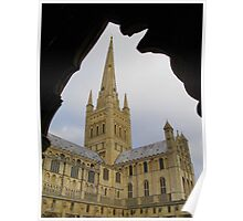 Norwich Cathedral - through a cloister archway Poster