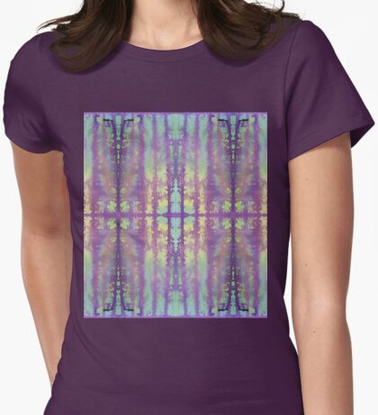 aqua and violet dripping stripes Womens Fitted T-Shirt