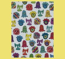 pattern with monsters One Piece - Short Sleeve