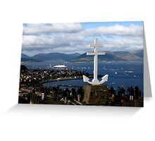 QE2 under the Cross - Hilltop Viewpoint Greeting Card