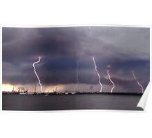 Lightning strikes Oil Refinery in UK Poster