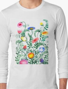 beautiful illustration of Hand Painted flower Wild  Long Sleeve T-Shirt