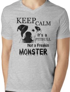 keep calm its a pitbull not a freakin monster Mens V-Neck T-Shirt