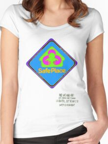 Safe Place sign Women's Fitted Scoop T-Shirt