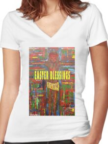 EASTER 42 Women's Fitted V-Neck T-Shirt