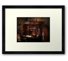 Pharmacist Desk Framed Print