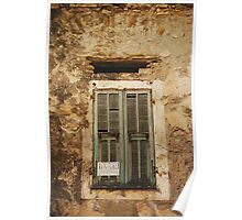 Old Window With Green Shutters  Poster