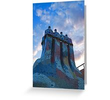 Sunset Colored Chimneys - Impressions Of Barcelona Greeting Card