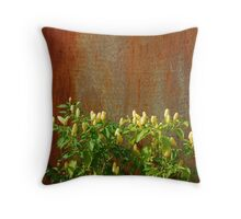 Chilli Plants Against Rusted Metal Door  Throw Pillow