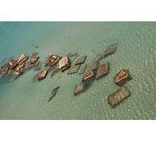Concrete Blocks in Sea  Photographic Print