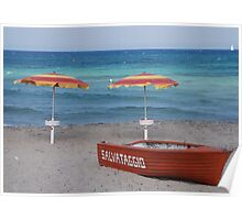 Lifeboat and Two Beach Umbrellas  Poster