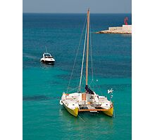 Catamaran with Background Boat  Photographic Print