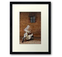 White Scooter Against Brick Wall  Framed Print