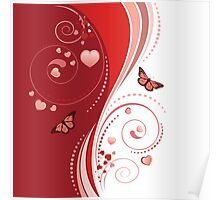 Red swirl ornament Poster
