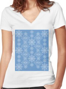 Snowflakes ornament 3 Women's Fitted V-Neck T-Shirt