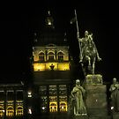 Wenceslas Statue, lit at night  by cascoly