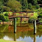 Red Bridge and poles, Japanese Gardens , Toowoomba, Qld. Australia by Marilyn Baldey