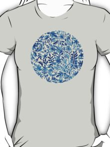 Floating Garden - a watercolor pattern in blue T-Shirt