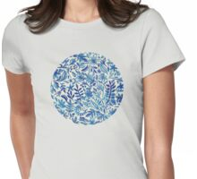 Floating Garden - a watercolor pattern in blue Womens Fitted T-Shirt