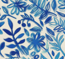 Floating Garden - a watercolor pattern in blue Sticker