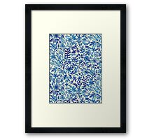 Floating Garden - a watercolor pattern in blue Framed Print