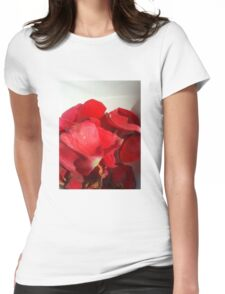Red rose petals 3 Womens Fitted T-Shirt